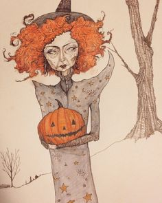 Halloween Witch illustration, spooky artwork by Leigh Anita