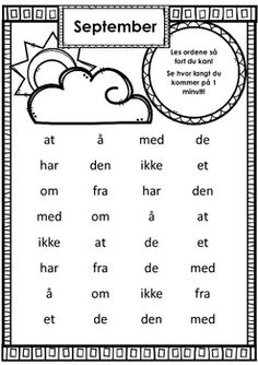 FREE Lesing av høyfrekvente (bokmål) ord på tid - min side Norwegian Words, Norway Language, Swedish Language, School Subjects, Teacher Appreciation Week, First Grade, Preschool, Teaching, Education