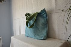 Bohemian bag green handles light blue tote by EthicalLifeStore