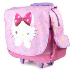 Travel in cute style with this petite Hello Kitty rolling backpack. An adjustable pull handle and wheels helps pull all your treasured belongings behind you. Part of the Hello Kitty Polka Dot Bow collection.