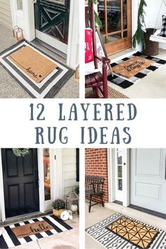 Layered rug ideas for indoors and outdoors. Find layered rugs in almost every farmhouse on the porch. Layered rugs can be used in the living room as well as by the front door. Any holiday layered rugs are perfect. When layering rugs they can be any color. Front Door Rugs, Cheap Home Decor, Porch Rug, House With Porch, Home Remodeling, Front Porch Decorating, Door Rugs, Layered Rugs, Porch Decorating