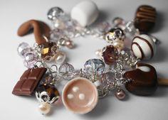 Chocolate Bracelet, Miniature Food Jewelry, Polymer Clay Food Bracelet, Brown Food Charm Bracelet. $60,00, via Etsy.