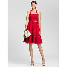 A-line Halter Knee-length Chiffon Bridesmaid Dress – USD $ 89.99  http://www.lightinthebox.com