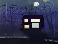 Outskirts (Night), 2015 by Tom Hammick. Woodcut, 121 x 158 cm. Edition of 12. Flowers Gallery.