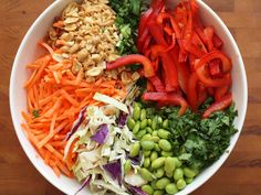Asian slaw with Ginger Peanut Dressing,  skipping edamame/maybe add sugar snap peas/green beans