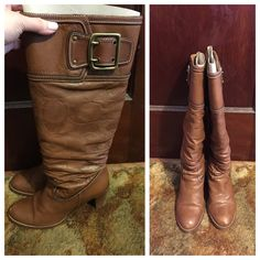 """Coach Merridth leather boots Coach Merridth cognac/saddle leather boots  used but in great condition  scuff marks on the front of boot which is pictured  heel is about 3 1/4""""  price firm  Coach Shoes Heeled Boots"""