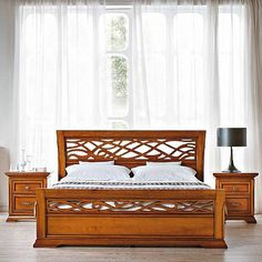 Dark wood vintage 'Rest' bed. Fancy headboard, beautiful bed and high quality materials. My Italian Living.