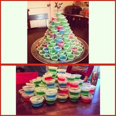 Jell-o shot Christmas tree is made into a #pinterestfail