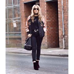 All black everything style with an added silk bomber is the perfect vintage combo #AsSeenOnMe