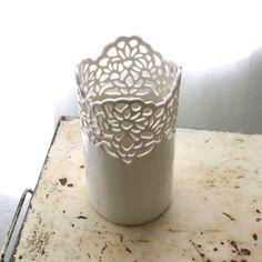 Isabelle Abramson Ceramics Available Work — Small Carved Porcelain Vase
