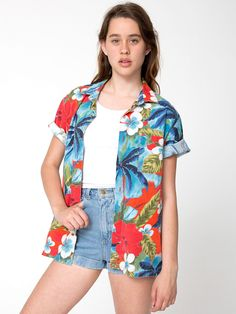 Tropical Button-Up + High-Waist Jean Cuff Short. #AmericanApparel
