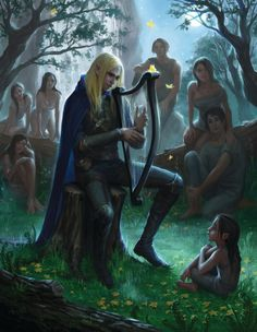 Now the Eldar were beyond all other peoples skilled in tongues; and Felagund discovered also that he could read in the minds of Men such thoughts as they wished to reveal in speech, so that their words were easily interpreted. ~ The Silmarillion, Chapter 17 (Finrod meeting a man for the first time, by Alexandra Ishchenko, artstation.com)