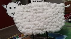 100 days of School Project!  (thick poster board, 100 cotton balls, clothes clips for the feet and craft eyes) 100 days of school ideas