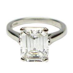 3.21ct G VVS2 TIFFANY & CO. Emerald Diamond Solitaire | From a unique collection of vintage engagement rings at https://www.1stdibs.com/jewelry/rings/engagement-rings/