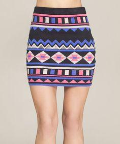 Look at this #zulilyfind! Black & Pink Tribal Bodycon Skirt #zulilyfinds