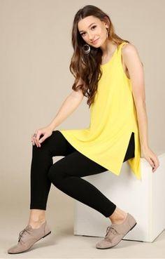 6ea499e005de6 Plus Size Womens Solid Sleeveless Side-Slit Top