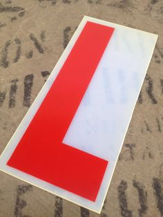 "L -  vintage RED plastic sign LETTER - 6"" tall"