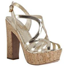 Prada Gold Metallic Leather Cork Platform Sandals found on Polyvore