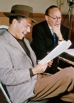 Frank Sinatra and Jack Benny reading and rehearsing a sketch - undated. - web source photo - MReno
