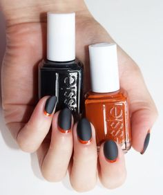 Check out this super chic Halloween nail art design by @laurenslist -- recreate this look at home with flirtatious rust orange 'playing koi', sinister dark red, 'wicked' and mattifying 'matte about you' top coat. (Want more nail art ideas? Visit http://www.essie.com/essie-looks.aspx)