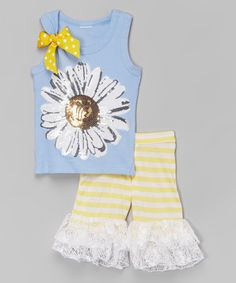 Love this Blue & Yellow Daisy Tank & Ruffle Shorts - Toddler & Girls by Ruby and Rosie on #zulily! #zulilyfinds
