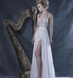 Lace 2016 do casamento De praia vestidos A linha profundo decote em V Chiffon De fenda Sexy Vestido De casamento Vestido De Noiva Vestido De Noiva Vestido De Noiva