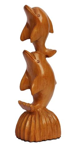 "Bulk Wholesale Hand-Carved 8"" Decoration Piece of 2 Flying Dolphins 'Symbol of Balance & Harmony' in Kadam Wood – Meaningful Gift Item / Home Décor from India"