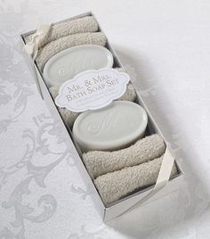 Mr. and Mrs. Bath Soap and Towel Gift Set