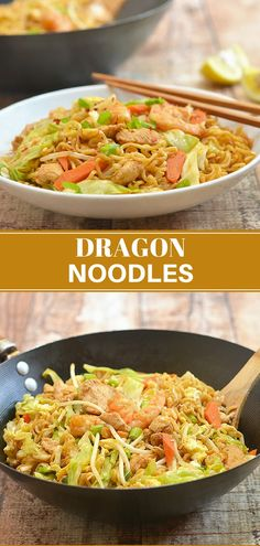 Dragon Noodles are a delicious way to turn instant ramen into a meal worthy of guests. Chock full of shrimp, chicken, veggies, and spicy sauce, it has big flavors everyone is sure to love. This would be great with veggie chicken. Pasta Dishes, Food Dishes, Main Dishes, Asian Recipes, Healthy Recipes, Ethnic Recipes, Asian Foods, Easy Recipes, Healthy Food