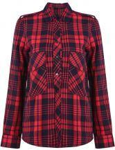 Red Lapel Long Sleeve Plaid Epaulet Blouse US$31.64