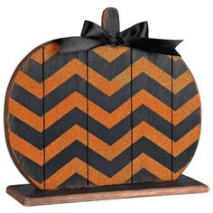 Chevron Wood Halloween Pumpkin ($9.99) ❤ liked on Polyvore featuring home, home decor, holiday decorations, halloween home decor, pumpkin home decor, wooden home decor, chevron home decor and wood home decor
