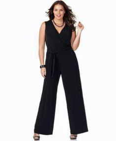 NY Collection Black Sleeveless Jumpsuit with Sash Belt Wide Leg Size 2X >>> Want additional info? Click on the image.