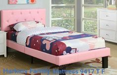 Pink Twin Bed with a faux leather upholstered headboard and footboard with accent tufting >>> Continue to the product at the image link. (This is an affiliate link) Twin Platform Bed, Upholstered Platform Bed, Platform Bedroom, Twin Bedroom Sets, Kids Bedroom, Bedroom Ideas, Bed Sets, Shabby, Leather Bed