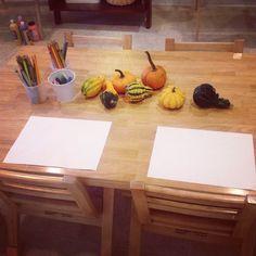 fall provocation, pumpkins and gourds, drawing, preschool art, process art, reggio emilia inspired, crozet playschool