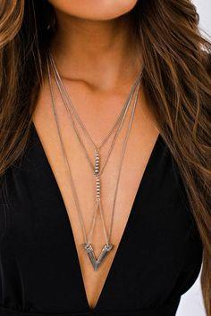 Lyric Multi Layer Necklace (Silver)