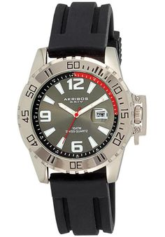 Price:$52.57 #watches Akribos XXIV AK492BK, With exceptional Swiss movement and a durable build, this Akribos watch is the perfect accessory for the modern man who is always on the go. This fine timepiece features a stainless steel case, black silicone strap and Swiss quartz movement.