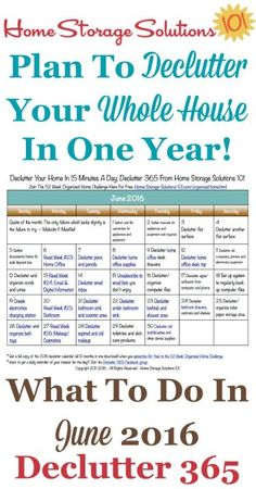 Free printable June 2016 decluttering calendar with daily 15 minute missions. Follow the entire Declutter 365 plan provided by Home Storage Solutions 101 to declutter your whole house in a year.