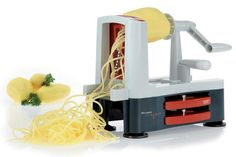Westmark Germany Europe's Best Seller Fruit and Vegetable Slicer Produces Spiral Cuts, Shoestrings and Vegetable Noodles For Stir-. Spiral Vegetable Slicer, Vegetable Noodles, Vegetable Spiralizer, New Kitchen Gadgets, Kitchen Appliances, Spiral Cutter, Squash Pasta, Days Before Christmas, Food Garnishes