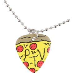Pierce The Veil Pizza Guitar Pick Necklace Hot Topic ($21) ❤ liked on Polyvore featuring jewelry, necklaces, accessories, guitar pick necklace, long chain necklace, chains jewelry, guitar pick jewelry and long necklaces