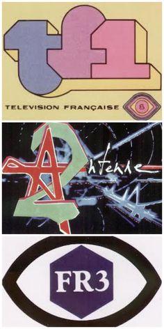 Les logos des 3 chaînes de télé françaises - Années 70. Ah ouiiii! Et il fallait changer les chaînes en se levant du fauteuil, il n'y avait pas de zapette!