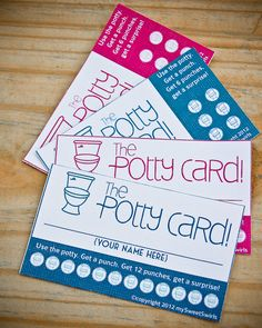 DIY Printable Potty Training Reward Punch Cards.