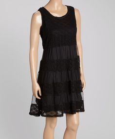 Love this Black Geometric Crochet Dress by Aqua Blue on #zulily! #zulilyfinds