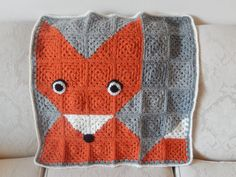 Super cute fox blanket - who can resist such a face?  Crocheted by hand with pure Australian wool. Perfect for prams, cots, tummy time or just a