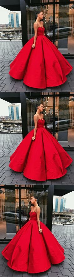 new fashions ball gown lace Prom dresses Formal Dress satin Prom Dresses Sexy red sweetheart Evening Gowns #promdress #promdresses #promgown #promgowns #long#prom #modestpromdress #newpromdress #2018fashions #red
