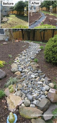 Dry Creek Bed Landscaping Plan - Farm.Food.Family Landscaping Supplies, Home Landscaping, Landscaping With Rocks, Front Yard Landscaping, Landscaping Design, Natural Landscaping, Lawn And Landscape, Landscape Plans, House Landscape
