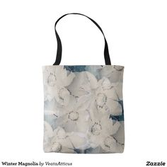 Winter Magnolia tote bag. Pretty white and teal magnolia floral pattern