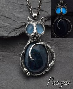 Cat Apatite Pendant,Cat necklace,Glow Cat pendant,Crystal necklace,Metalwork jewelry,Glow int the Dark,ooak art pendant,Glow eyes,peager by PeagerFantasyWorld on Etsy