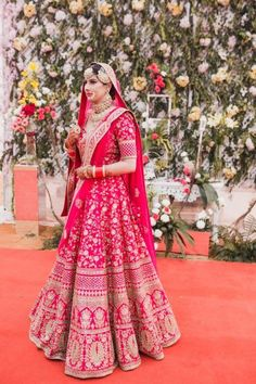 A Beautiful Jalandhar Wedding With A Bride In Bright Pink Lehenga Pink Bridal Lehenga, Designer Bridal Lehenga, Pink Lehenga, Indian Bridal Lehenga, Indian Bridal Outfits, Indian Bridal Fashion, Indian Bridal Wear, Indian Dresses, Indian Wear