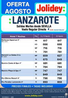 Lanzarote Agosto 7 Noches Salidas Sevilla desde 617 Tax. incluidas - http://zocotours.com/lanzarote-agosto-7-noches-salidas-sevilla-desde-617-tax-incluidas/