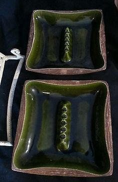 Vintage 70's Green Ceramic Ashtray Pair Made in USA